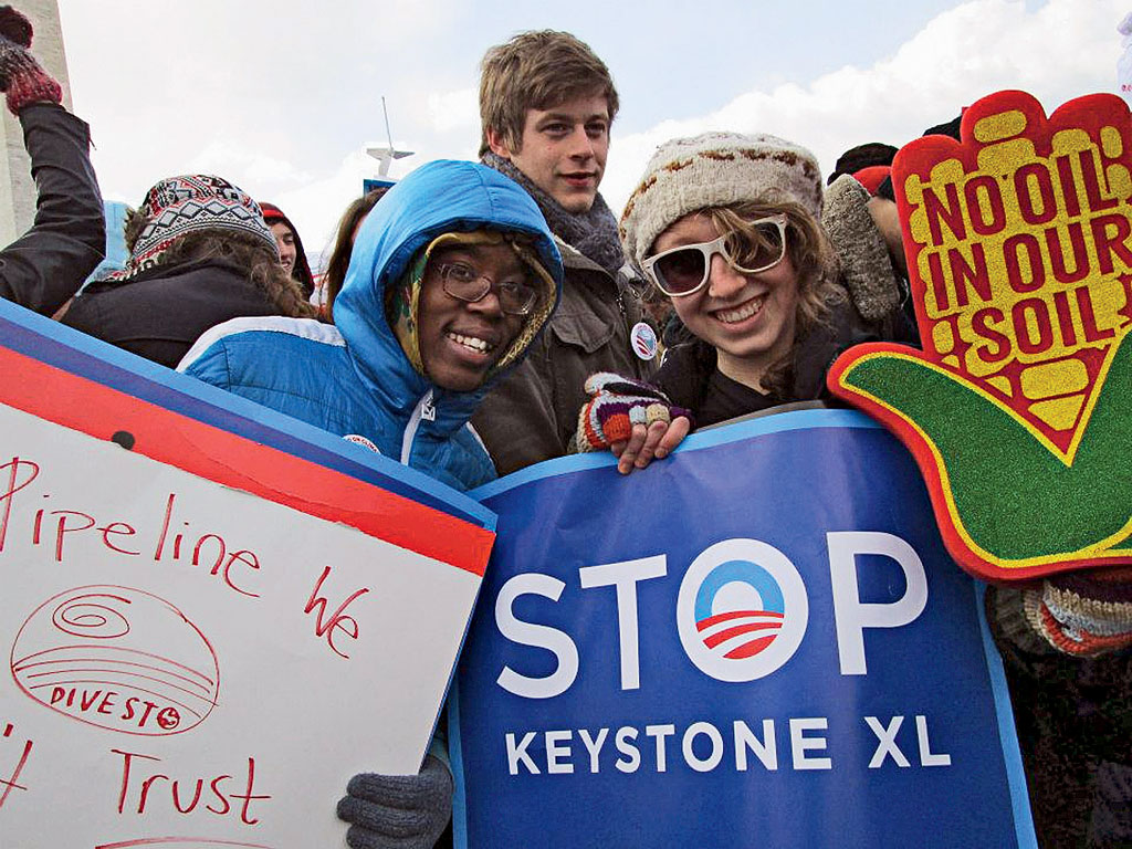 Washington University students protest the Keystone XL pipeline.