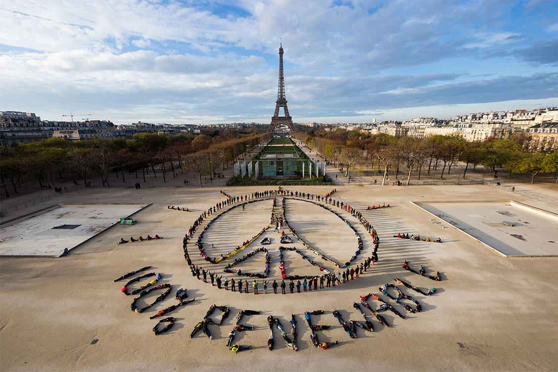 Photo of the Eiffel Tower during the Climate talks in 2015 Photo by: Yann Arthus-Bertrand