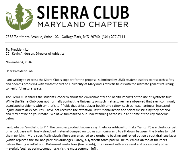 snip of sc letter to university of maryland re artificial turf