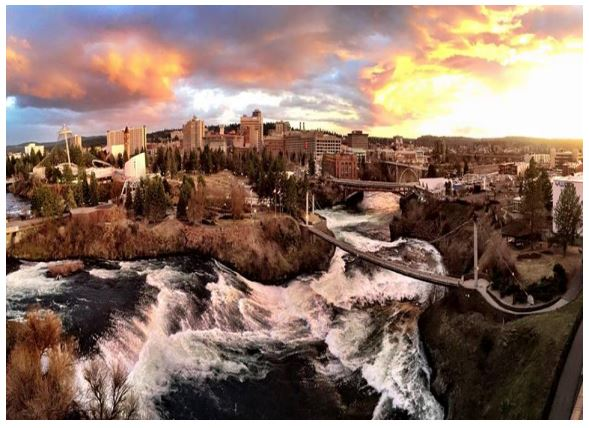 Spokane River in downtown Spokane