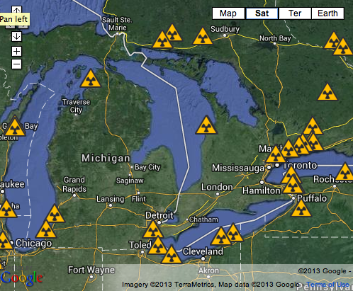 Great Lakes Nuclear Hot Spots Sierra Club - Map of all nuclear power plants in the us