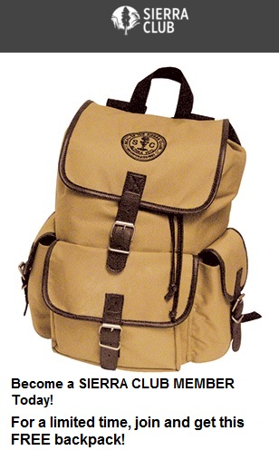 Join Sierra Club - Limited time backpack
