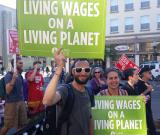 Sierra Club members march for Living Wages on a Living Planet, Berkeley Fight for $15 rally