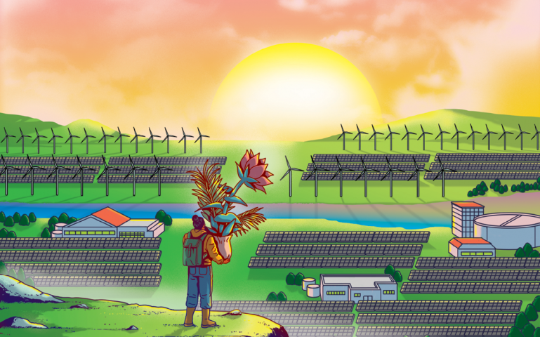 Illustration shows someone standing on a ledge, carrying a potted plant/vase of flowers and looking at a sunrise or sunset. Below are solar arrays and wind turbines.