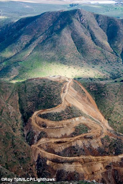 Border wall construction damage to Otay Wilderness in California.