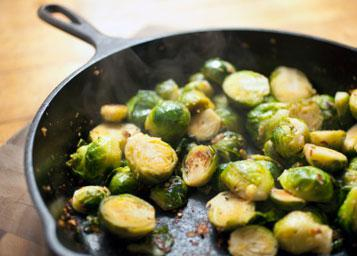 Sauteed Brussels Sprouts with Roast Walnuts