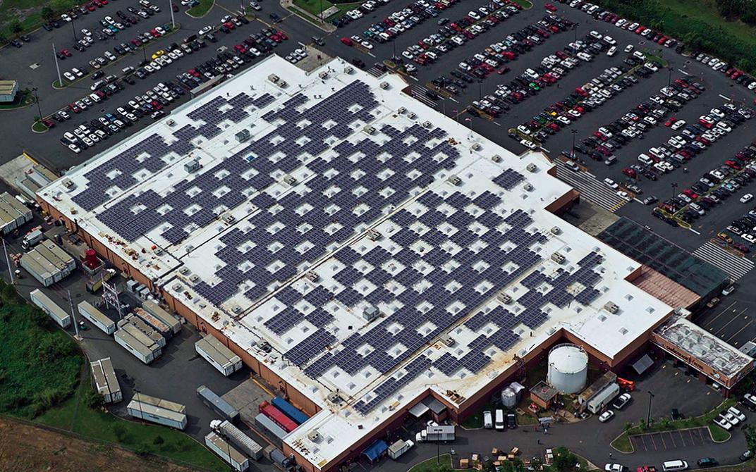 Five Walmarts in sunny Puerto Rico are equipped with solar panels, including this one in Caguas.