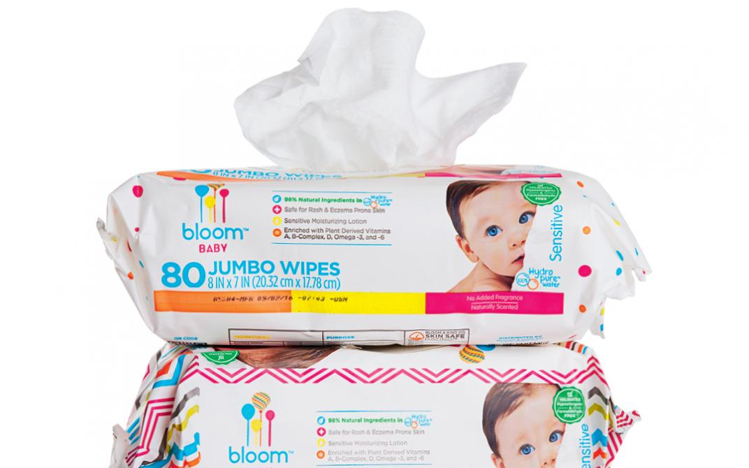 Bloom Baby's biodegradable Sensitive Wipes
