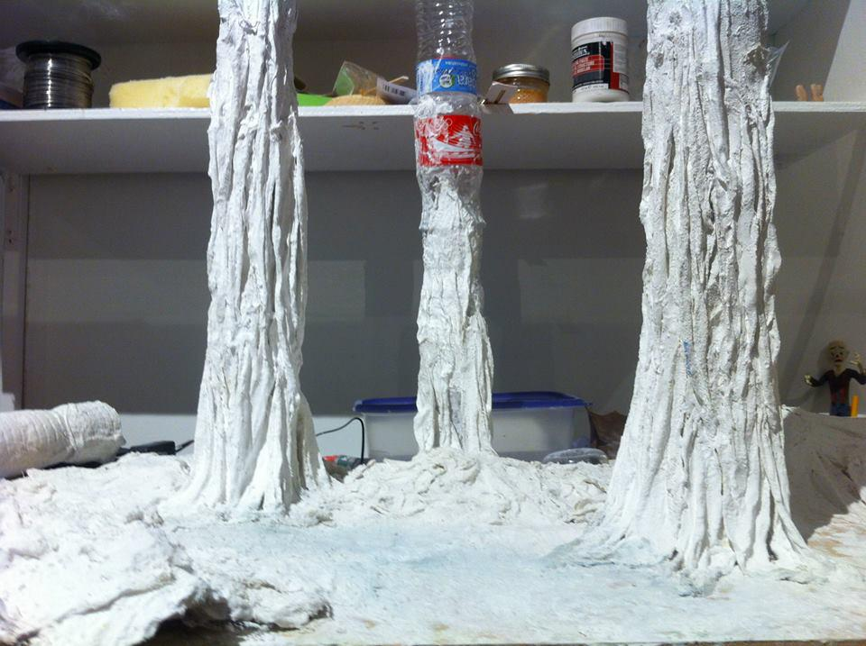 plastic water bottles serve as the base for the trees in Timothy's Muir video