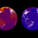 Colors are 2100 temperatures under business-as-usual (left, RCP8.5) and aggressive climate policy (right, RCP2.6).