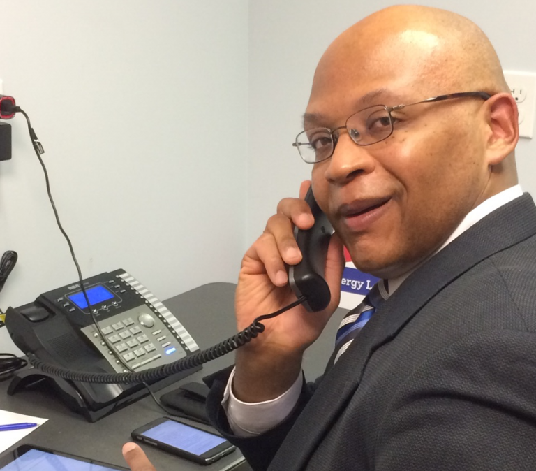 Executive committee member DR Tucker making calls to legislator's offices in favor of Electric Vehicles
