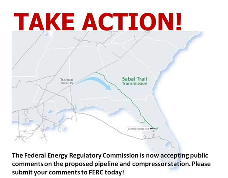 Submit Comments To FERC On The Sabal Trail Pipeline Compressor Station