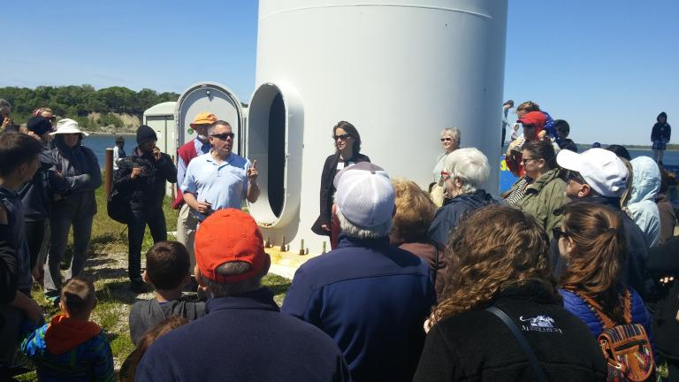 Gathered at the base of the turbine