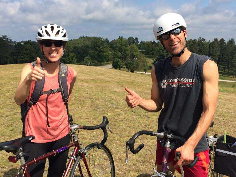 This couple biked to the event. Now they're ready to head home.