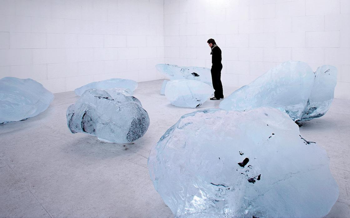 Olafur Eliasson's Your Waste of Time (2006) used six tons of ice from Iceland's Vatnajoekull glacier, plus Styrofoam and wood. A cooling system kept the installation intact.