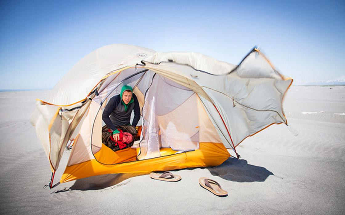 The ultralight tent often doubles as a sail
