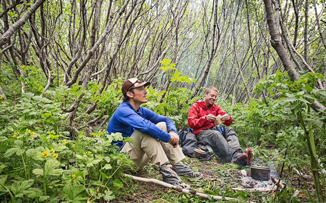 Instant oatmeal and rum in an alder thicket provide shelter from the storm