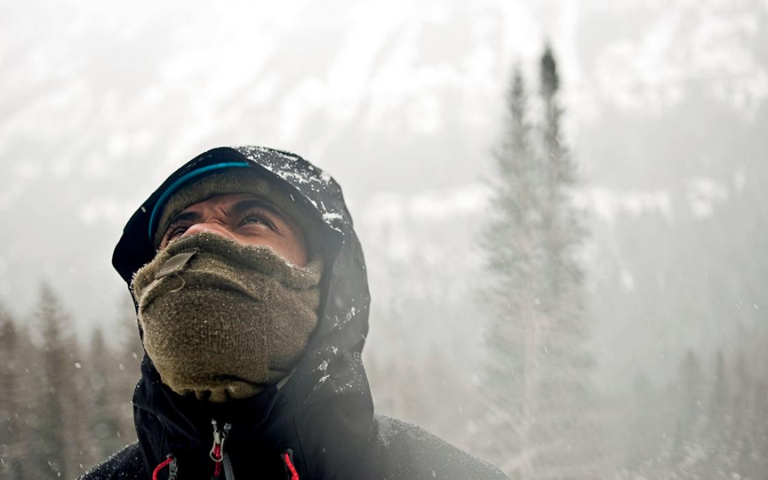Demond Mullins—dancer, model, soldier, and sociologist—on a Montana ice climbing trip.