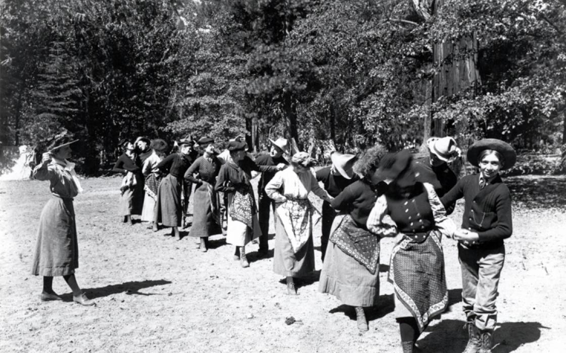 The Floradora dance, Sierra Club outing in King's River Canyon, 1902. By Joseph N. LeConte.