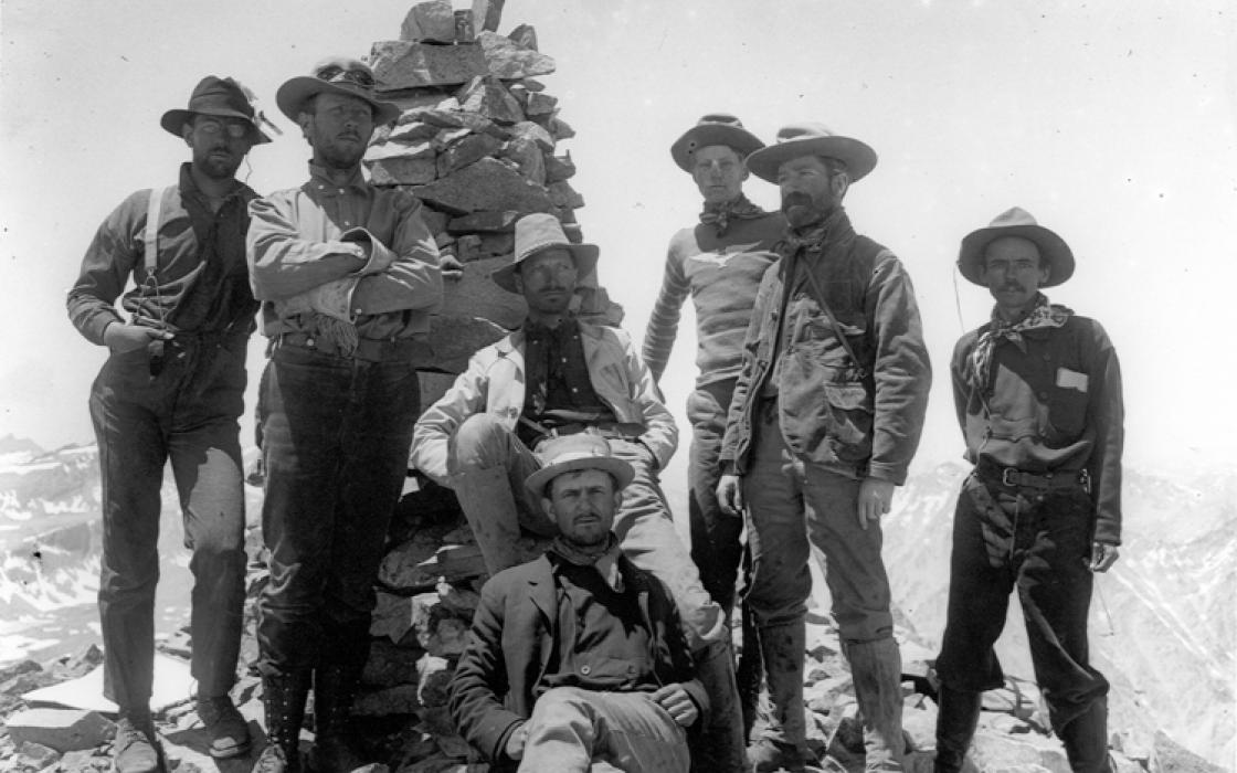 Group (first party) on summit of Williamson, Sierra Nevada, 1903.  By Joseph N. LeConte.