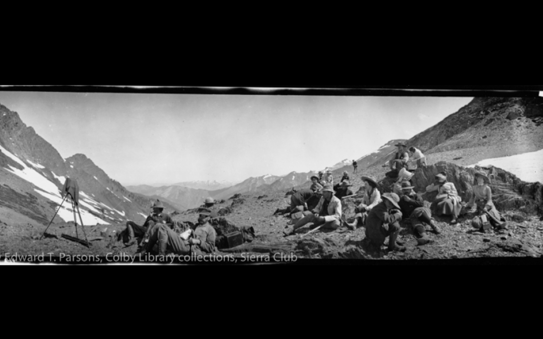 Group on the summit of Farewell Gap, Kern River Canyon outing, 1903.  By Edward T. Parsons.