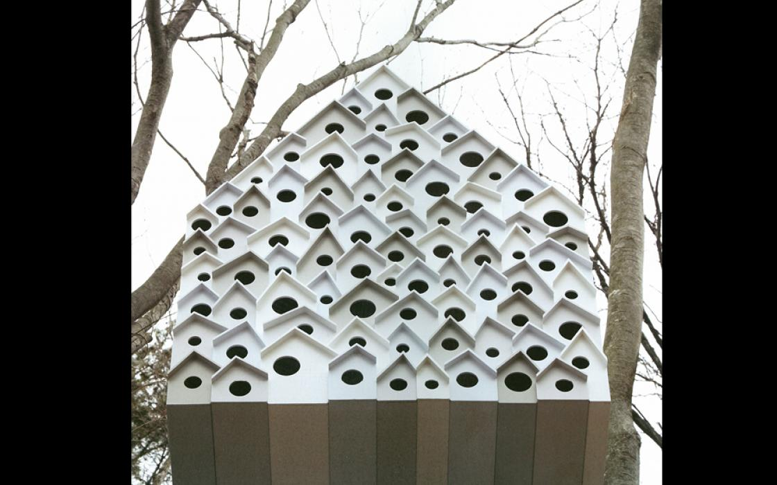 Bird Apartment, by Nendo, a treehouse in Komoro City, Japan.