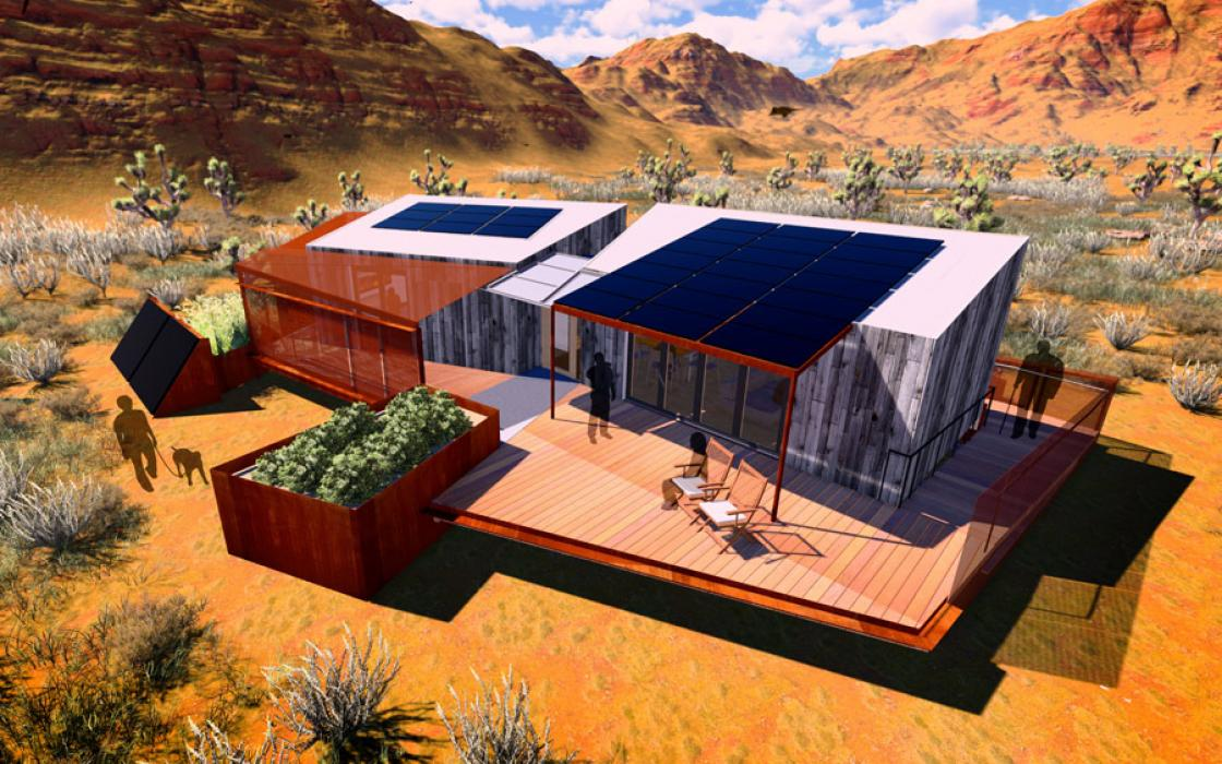 A rendering of the self-sufficient, net-zero-energy Autonomy House, built by students at the University of Las Vegas.