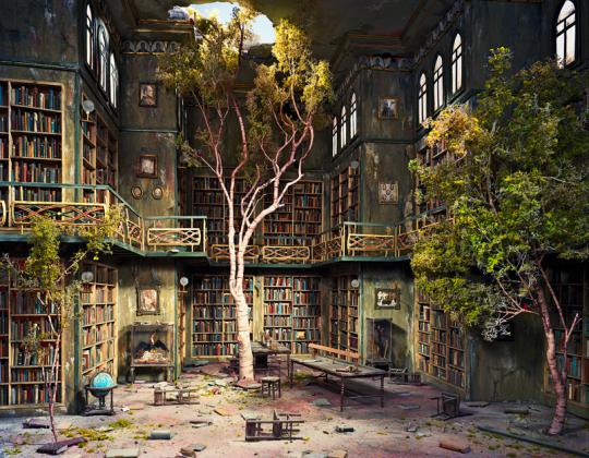 "Library (2007) is Brooklyn artist Lori Nix's photograph of her ongoing scale-model diorama series ""The City,"" set in an imagined posthuman future."