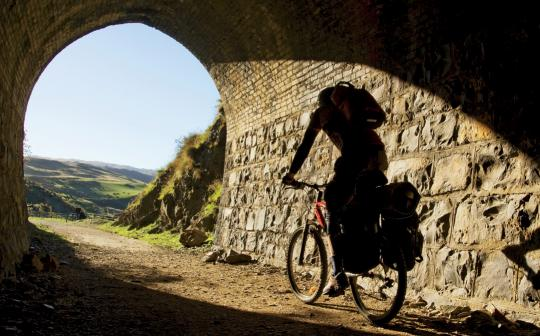 On the Otago Central Rail Trail in New Zealand.