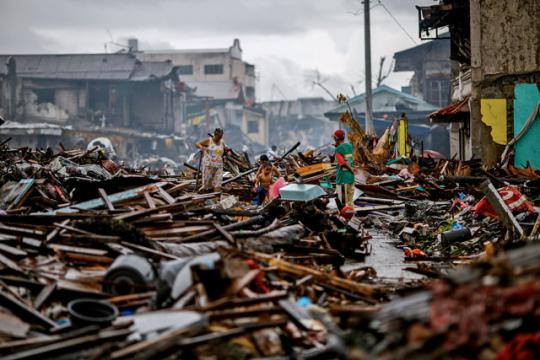 The aftermath of Typhoon Haiyan in Tacloban, Philippines, which left more than 1.9 million homeless.