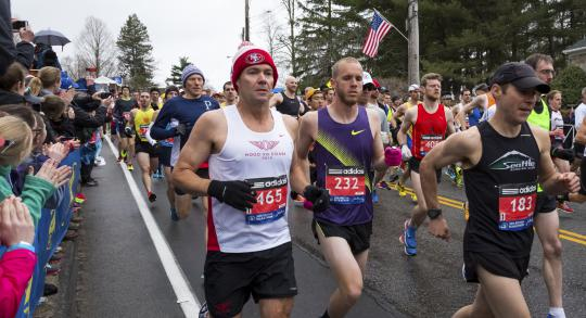 Runners in the 2015 Boston Marathon.