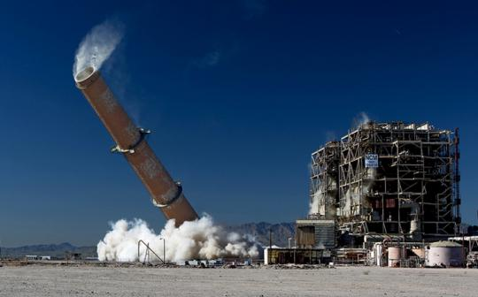 The 500-foot exhaust stack of the Mohave Generating Station  in Laughlin, Nevada, was felled by explosives on March 11, 2011.