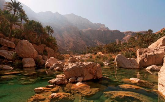 The emerald pools and orange blossoms of Wadi Tiwi almost distract climbers from their goal, the area's sheer sandstone pitches.