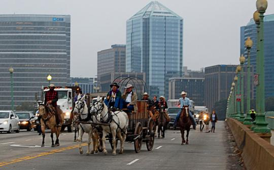 Rush hour commute: Ranchers cross Washington, D.C.'s Francis Scott Key Bridge after a three-week ride from California.