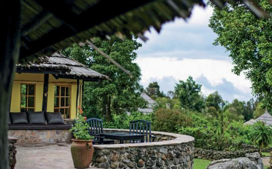 At Mount Gahinga Lodge, enjoy sunrise over a volcano panorama, learn native traditions, and see animals in their element