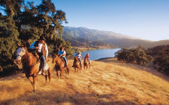The Alisal Guest Ranch and Resort offers horseback riding through California's Santa Ynez Valley.
