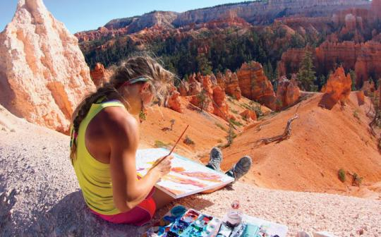 Rachel Pohl paints Bryce Canyon in Utah, featured in the new Imax film National Parks Adventure.