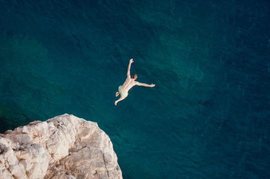 The world record height for cliff jumping was broken.