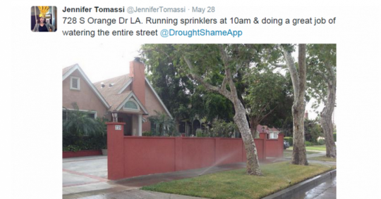 Social media and a smartphone app help to expose water-wasters across California.