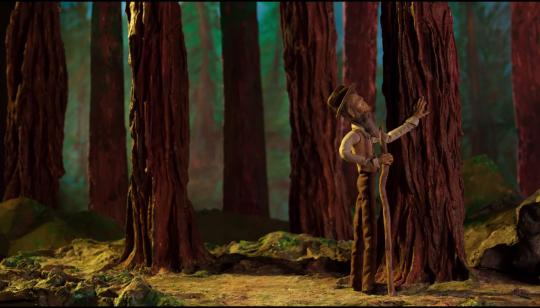 Tiny stop-motion John Muir admiring a tree trunk