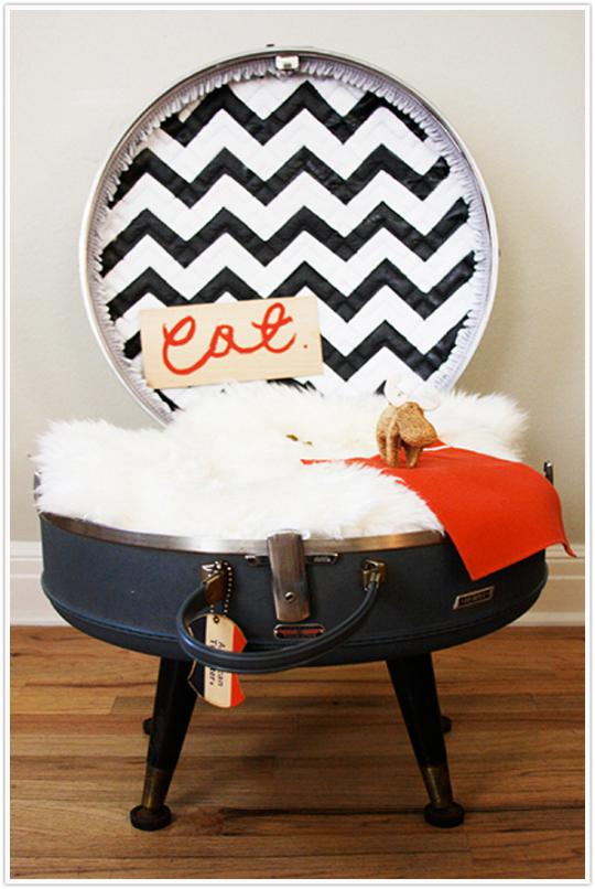 DIY Cat Bed from Suitcase by Claire Zinnecker for Camille Styles