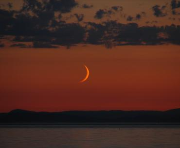 A crescent moon in the warm sunset glow.