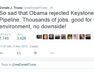 Presidential candidates tweet their reactions to Obama's rejection of Keystone pipeline.