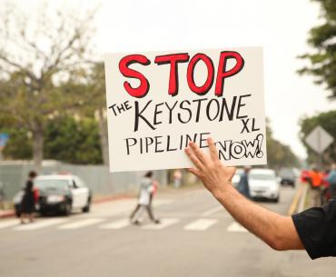 A Keystone XL protester in Santa Monica, 2013.