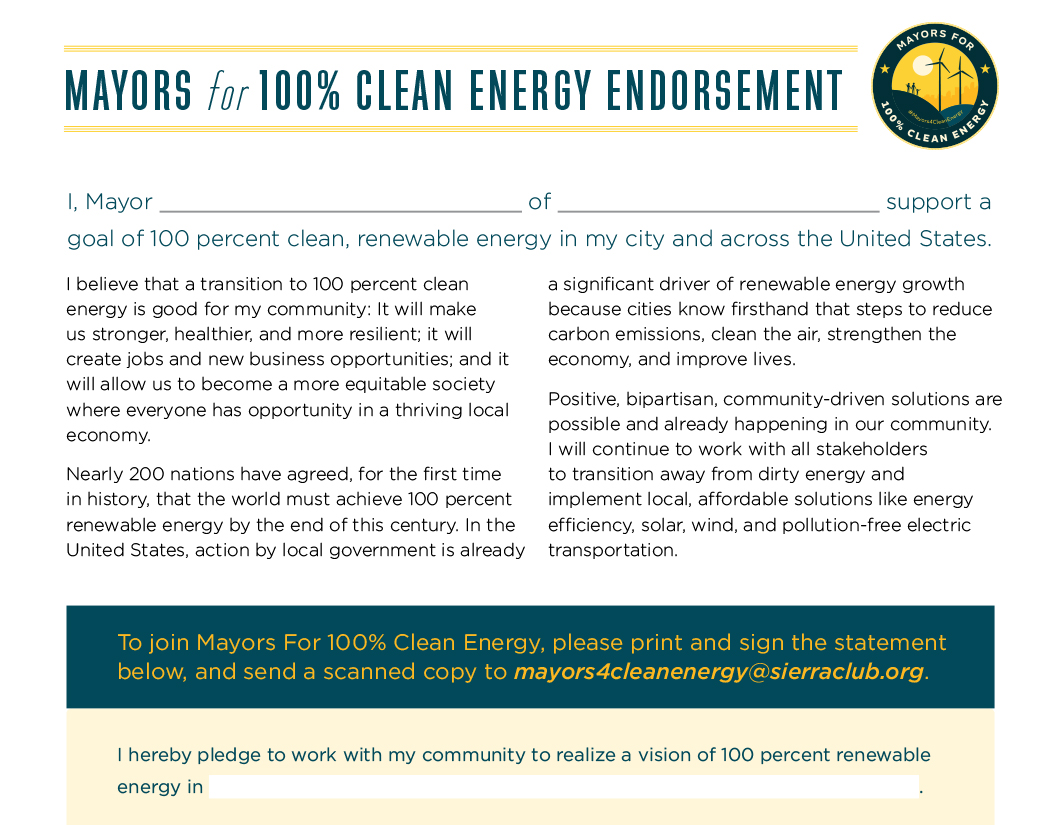 Mayors For 100 Percent Clean Energy - Endorsement Letter