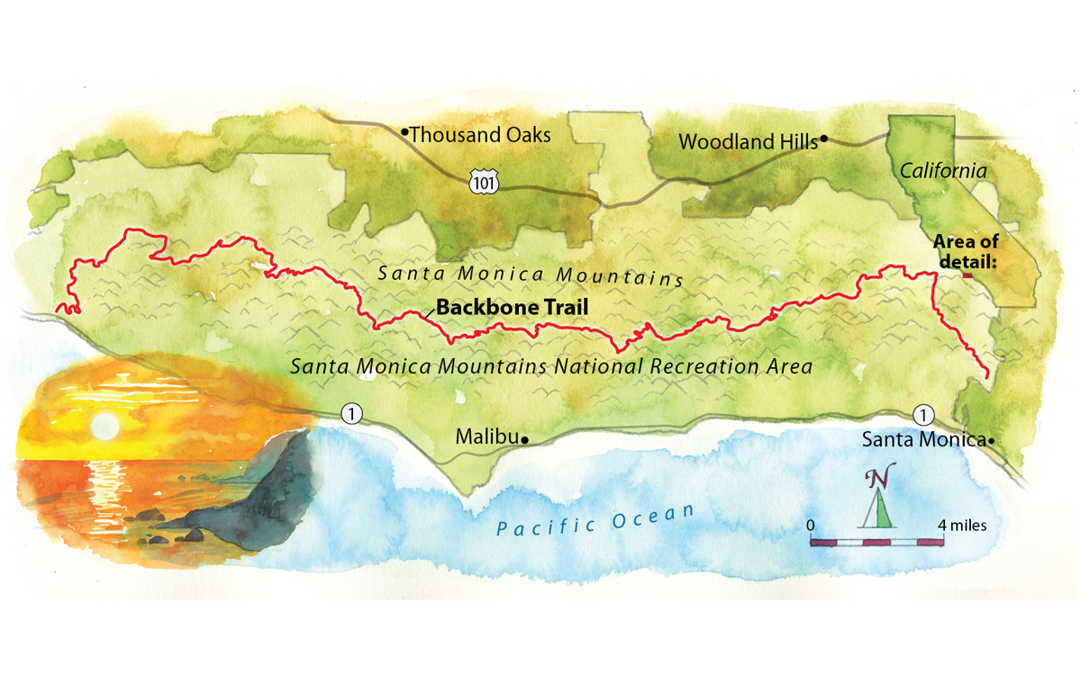 The Backbone Trail Opens Up the Wilder Side of Los Angeles ... on salida mountain trail map, san jacinto mountain trail map, santa rita mountains map, walnut mountain trail map, jackson hole mountain trail map, san bruno mountain trail map, del cerro park trail map, aspen mountain trail map, laguna mountain trail map, june mountain trail map, illinois mountain trail map, el cajon mountain trail map, sun valley mountain trail map, saddleback mountain trail map, boney mountain trail map, soledad mountain trail map, mountain to sea trail map, escondido falls trail map, whitefish mountain trail map, texas mountain trail map,