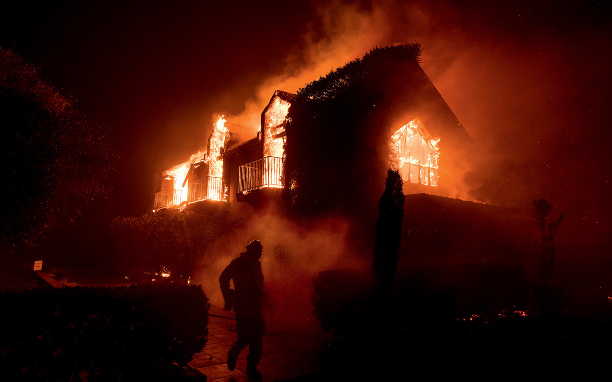 Flames consume the Signorello Vinyards in Napa, California, in 2017.