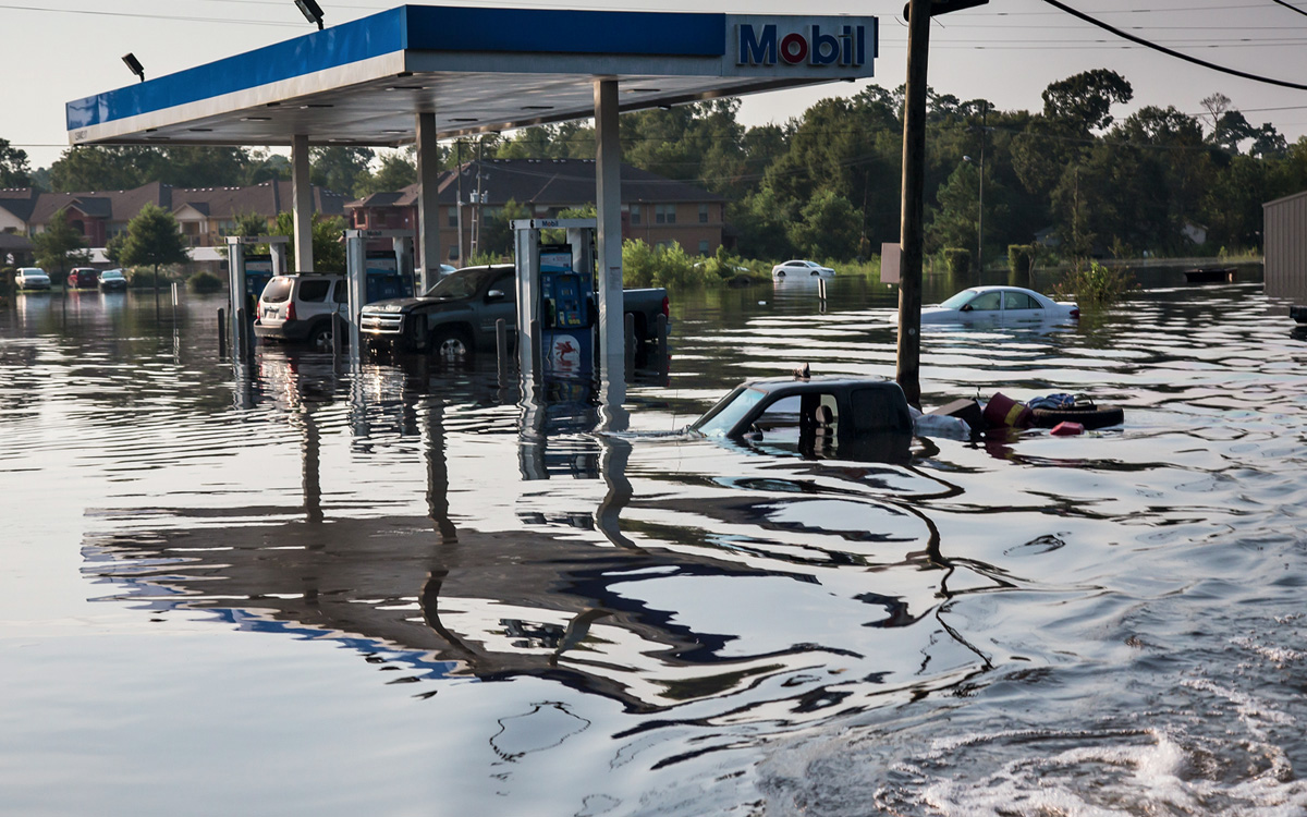 A flooded gas station in Texas after Hurricane Harvey