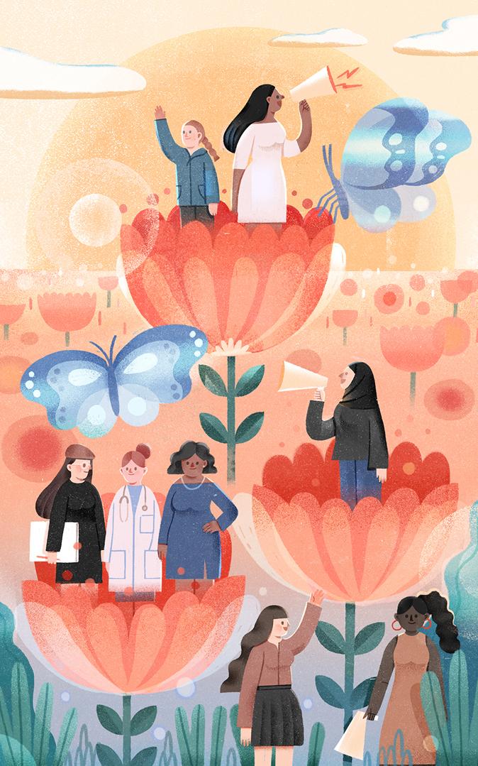 Illustration of women in flowers