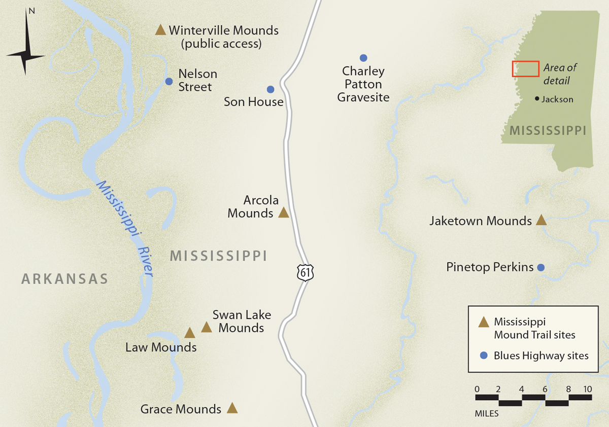 Map of Winterville Mounds site in Mississippi